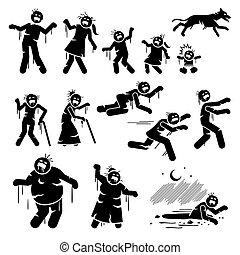 figuras, infected, vara, design., personagem, zombie, família