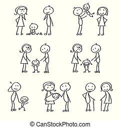 figuras, vara, família