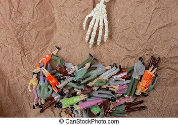 figurines., miniatura, pessoas, lote, torcida, pessoas.