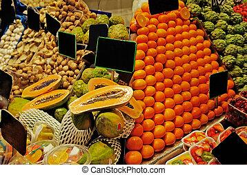 filas, la, barcelona, boqueria, famosos, mercado, mundo, spain., fruits.