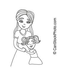 filha, abraçando, dela, mom.