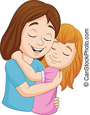 filha, dela, abraçando, mãe, caricatura, feliz