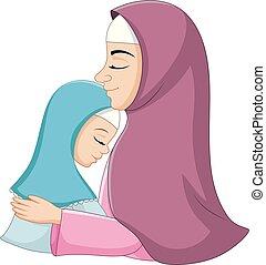 filha, dela, muçulmano, abraçando, mãe, feliz