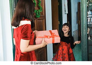 filha, presente, dela, mãe, suprising
