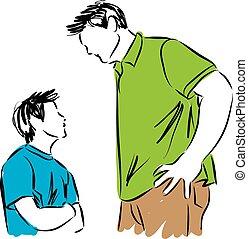 filho, pai, ilustração