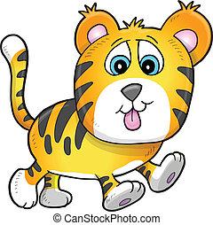filhote, ilustração, cute, tiger, vetorial