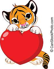 filhote, segurando, coração, cute, tiger