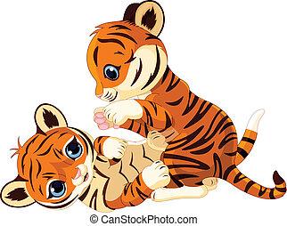 filhote tigre, brincalhão, cute