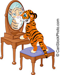 filhote tigre, olhar, espelho