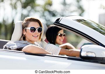 fim, automático, óculos de sol, cima, meninas