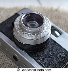 fim, câmera, antigas, cima