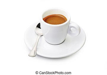 fim, café, branca, cima, copo
