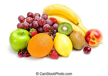 fim, fruta, cima, montão