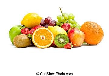 fim, fruta, tiro, cima, montão