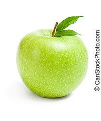 fim, maçã verde, cima