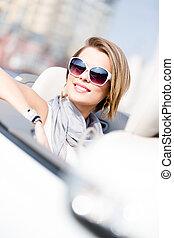 fim, mulher, cima, automóvel