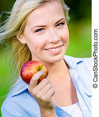 fim, mulher, maçã, loura, cima