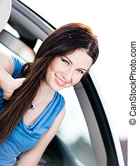 fim, mulher, vista, cima, automóvel