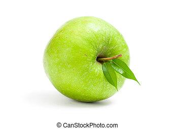 fim, vista, maçã verde, cima