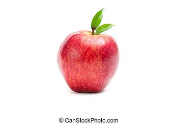 fim, vista, maçã, vermelho, cima