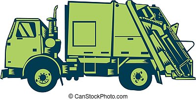 fim, woodcut, lixo, carregador, caminhão, lado, parte traseira