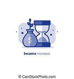 financeiro, rendimento, dinheiro, aumento, dinheiro, plano, interesse, futuro, renda, estoque, conta, fundo, crescimento, composto, ícone, mercado, retorno, poupança, vetorial, pensão, tempo, investimentos