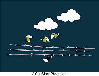 fio, sobre, pássaros