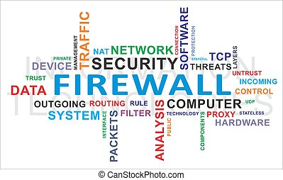 firewall, palavra, -, nuvem
