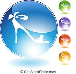fita, alto, cristal, sapato, calcanhar, ícone