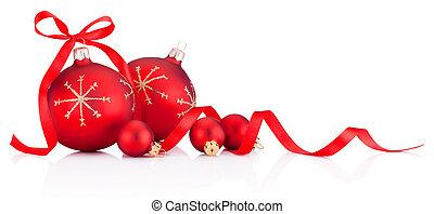 fita, baubles natal, branco vermelho, fundo, decoração, isolado, arco