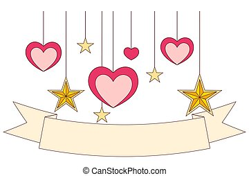 fita, coloridos, cartaz, -, stars., corações