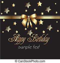fita, feliz, cartão ouro, aniversário