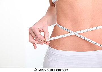 fita, mulher, adelgaçar, cintura, medida