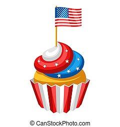 flag., americano, cupcake