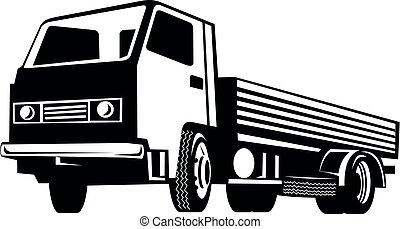 flatbed, peso leve, baixo, retro, visto, branca, pretas, caminhão, ângulo