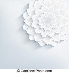 flor, abstratos, cinzento, fundo, floral, 3d