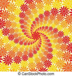 flor, amarela, fundo alaranjado, redemoinho, vermelho