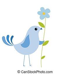 flor azul, pássaro