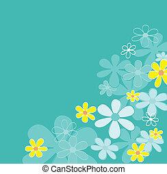 flor azul, retro, textura