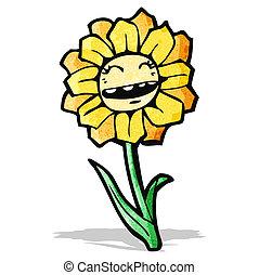 flor, caricatura, feliz