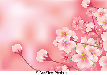 flor, cereja, abstratos, luxo