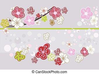 flor, cereja, arte abstrata, picture.