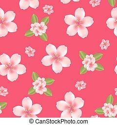 flor cereja, fundo, seamless