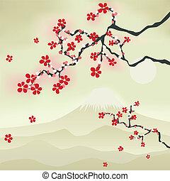 flor, cereja, japoneses
