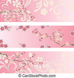 flor, cereja, jogo, bandeira