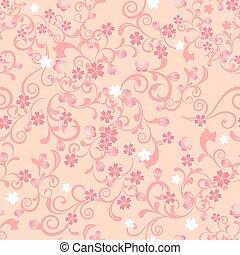 flor, cereja, seamless, padrão