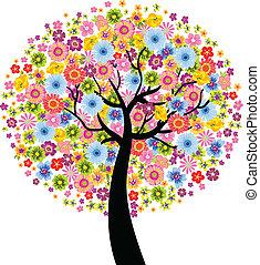 flor, coloridos, árvore