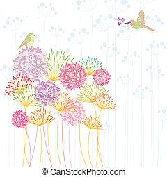 flor, coloridos, hummingbird