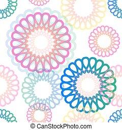 flor, coloridos, padrão, néon, seamless, fundo, branca