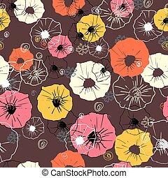 flor, coloridos, papel parede, pattern., seamless, experiência., floral
